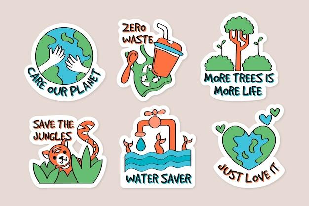 Concetto di badge ecologia disegnati a mano Vettore gratuito