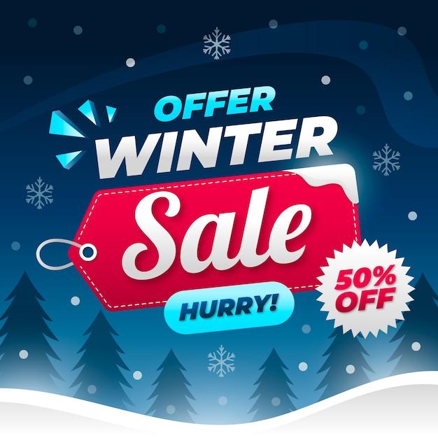 Concetto di banner di vendita inverno design piatto Vettore gratuito