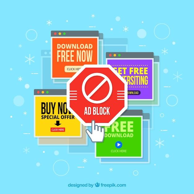 Concetto di blocco pubblicitario con design piatto Vettore gratuito