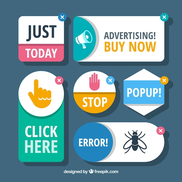Concetto di blocco pubblicitario moderno con design piatto Vettore gratuito