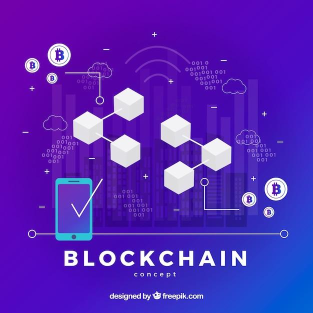 Concetto di blockchain infografica Vettore gratuito
