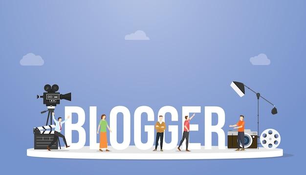 Concetto di blogger o vlogger con grande testo o parola e professionisti con alcuni strumenti con stile piatto moderno Vettore Premium