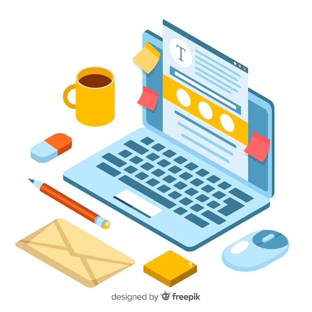 Concetto di blogging isometrica Vettore gratuito
