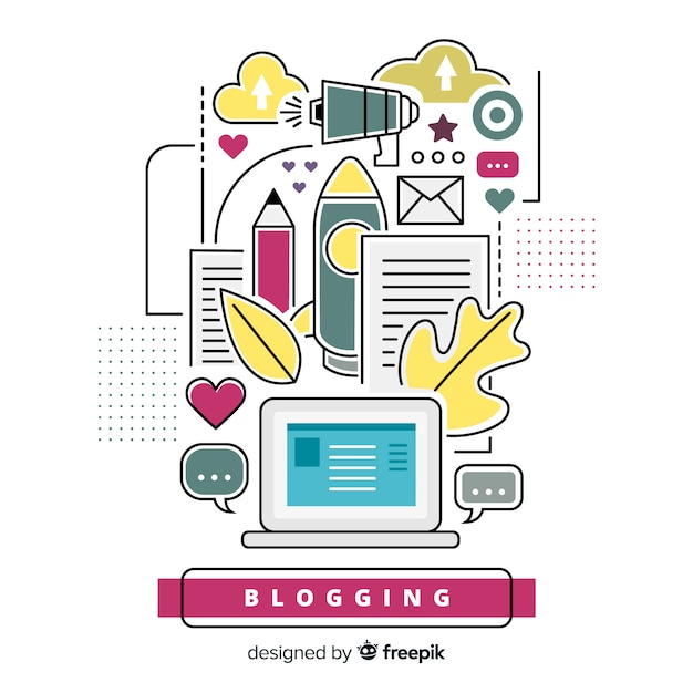 Concetto di blogging Vettore gratuito