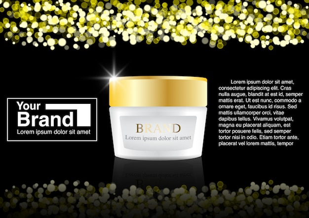 Concetto di bokeh annuncio cosmetico Vettore Premium
