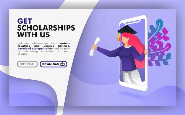 Concetto di borsa di studio di tecnologia educativa Vettore Premium