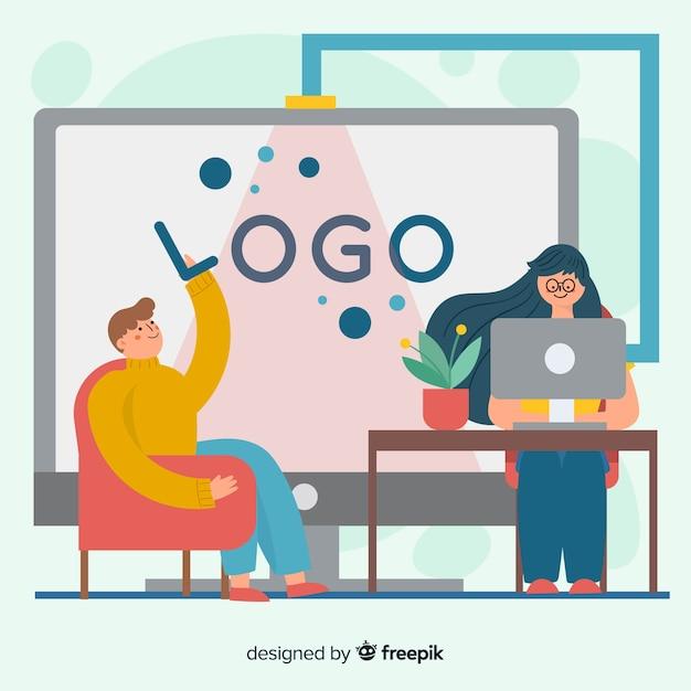 Concetto di branding per landing page Vettore gratuito