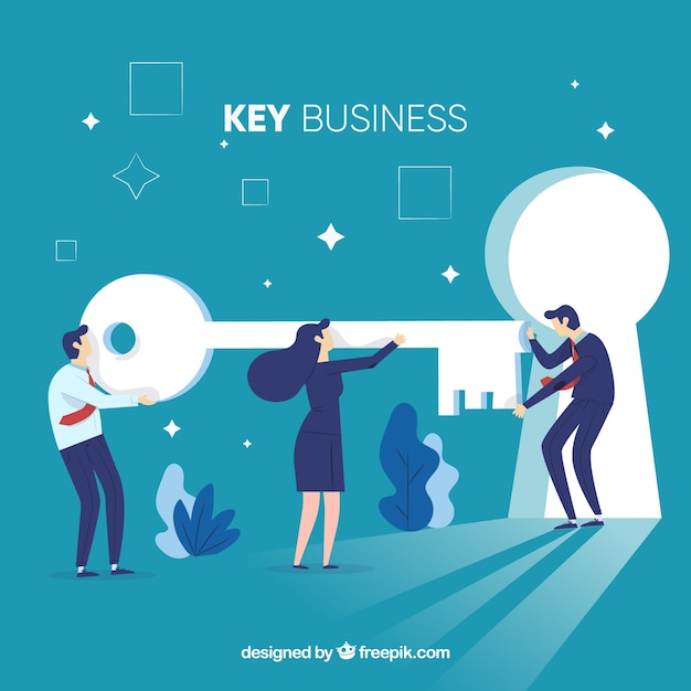 Concetto di business chiave con design piatto Vettore gratuito