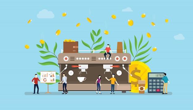 Concetto di business del caffè con la crescita degli investimenti di denaro Vettore Premium