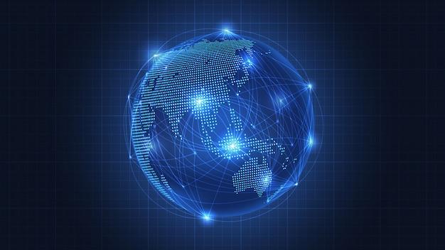 Concetto di business della connessione di rete globale Vettore Premium