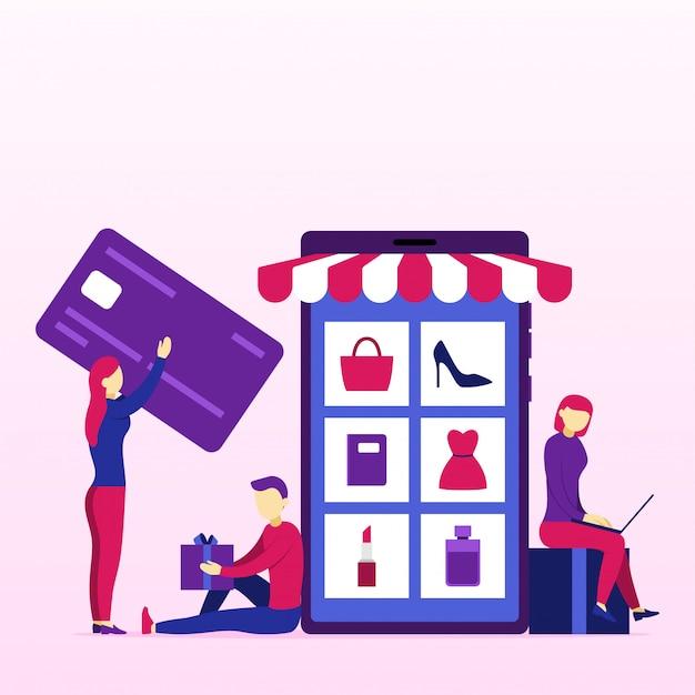 Concetto di business dello shopping online Vettore Premium