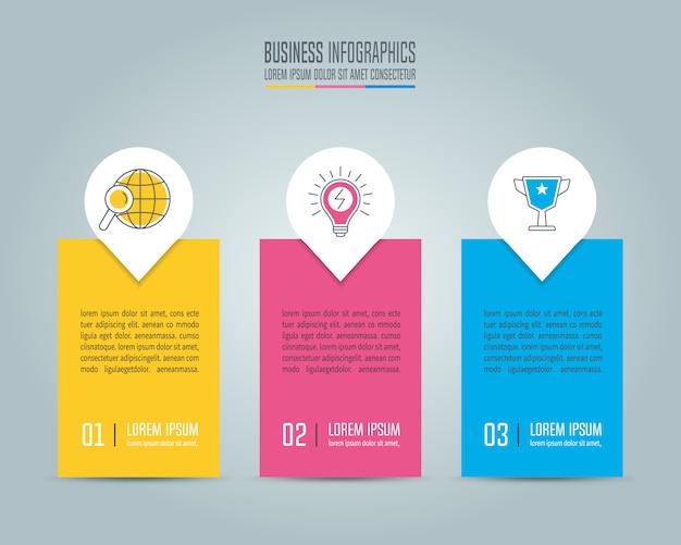 Concetto di business design infografica con 3 opzioni, parti o processi. Vettore Premium