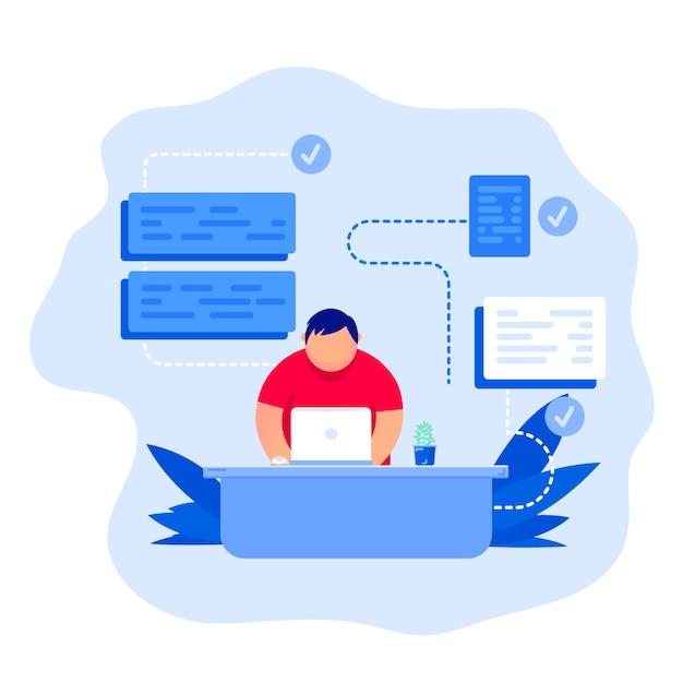 Concetto di business un giovane programmatore programma il codice Vettore Premium