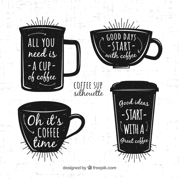 Concetto di caffè nero con scritte Vettore gratuito