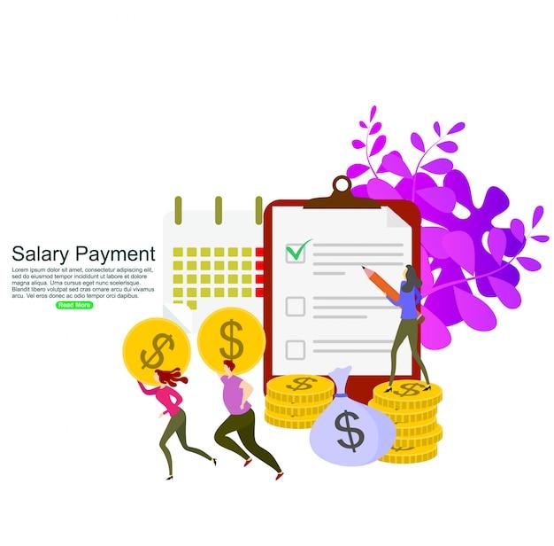 Concetto di calcolo del pagamento degli stipendi. modello di sfondo Vettore Premium