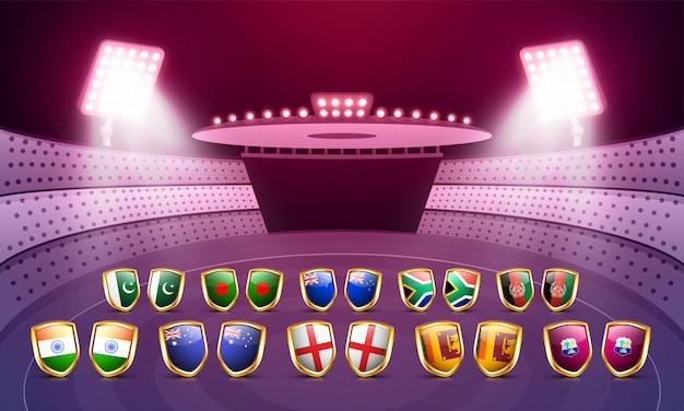 Concetto di campionato del mondo di cricket. Vettore Premium