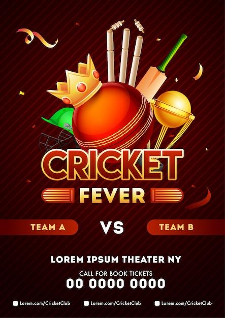 Concetto di campionato di cricket. Vettore Premium