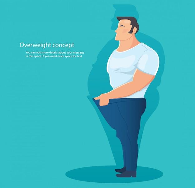 Concetto di carattere sovrappeso Vettore Premium
