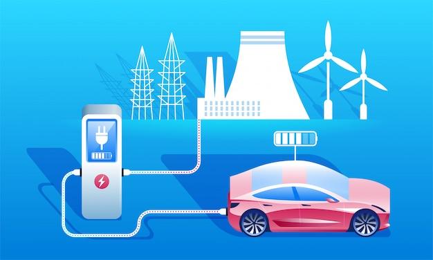Concetto di carburante ecologico. stazione di ricarica per auto elettriche. Vettore Premium