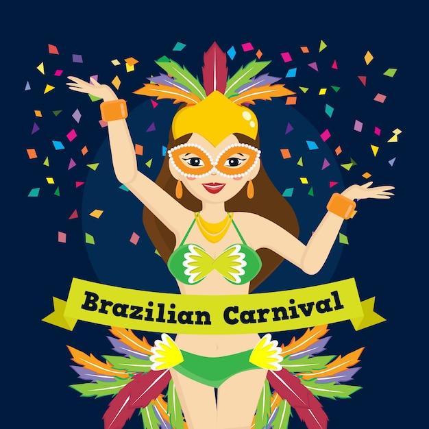 Concetto di carnevale brasiliano design piatto Vettore gratuito