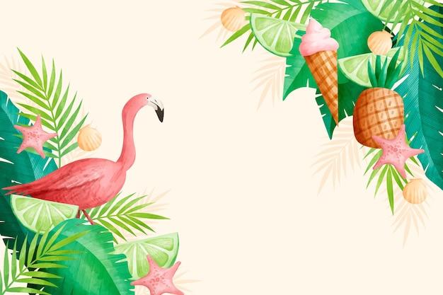 Concetto di carta da parati estiva dell'acquerello Vettore gratuito
