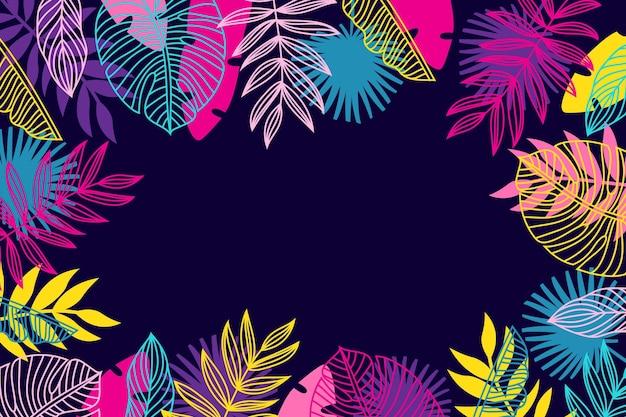 Concetto di carta da parati foglie tropicali Vettore gratuito