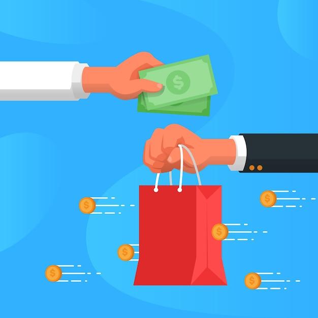 Concetto di cashback con lo shopping Vettore gratuito