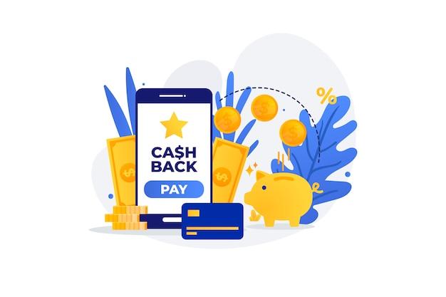 Concetto di cashback con smartphone Vettore gratuito