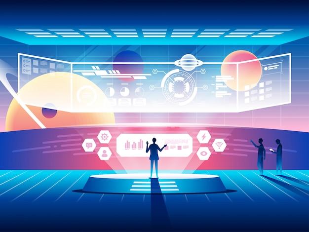 Concetto di centro di controllo futuristico. tecnologie spaziali moderne. Vettore Premium