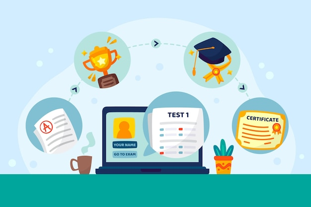 Concetto di certificazione online Vettore gratuito