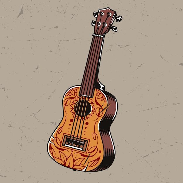 Concetto di chitarra acustica colorato Vettore gratuito
