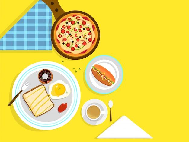 Concetto di cibo e bevande con prodotti alimentari frenata. Vettore Premium