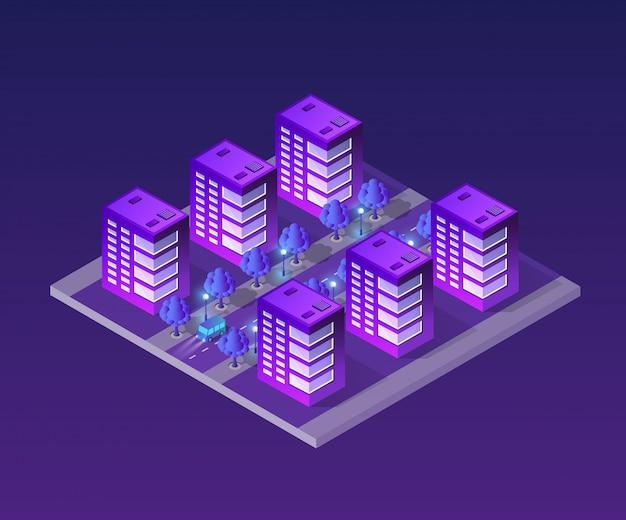 Concetto di città ultra isometrica Vettore Premium