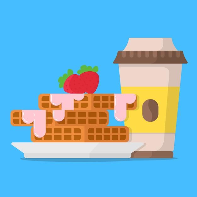Concetto di colazione cialde con marmellata di fragole e tazza di caffè Vettore Premium