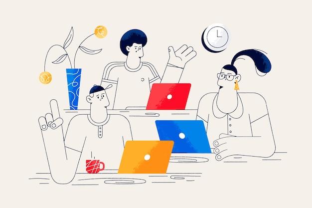 Concetto di collaboratori per landing page Vettore gratuito