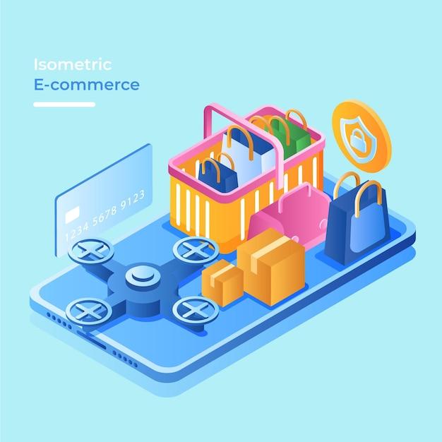 Concetto di commercio elettronico isometrico con negozio online Vettore gratuito