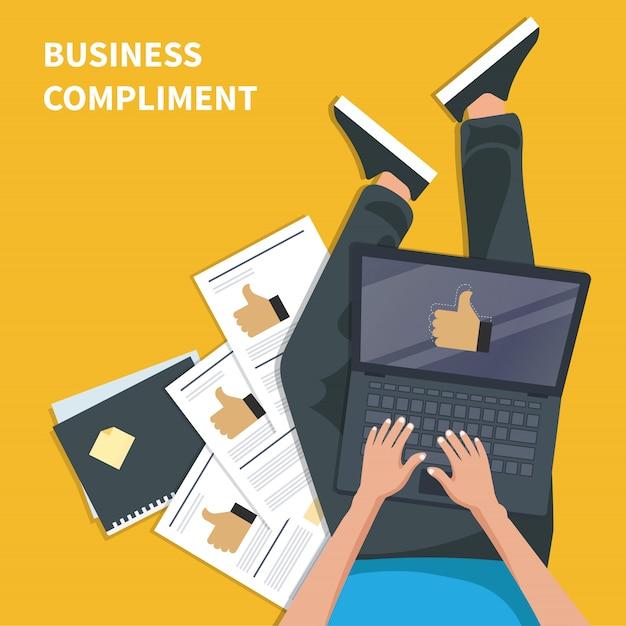 Concetto di complimento aziendale Vettore Premium