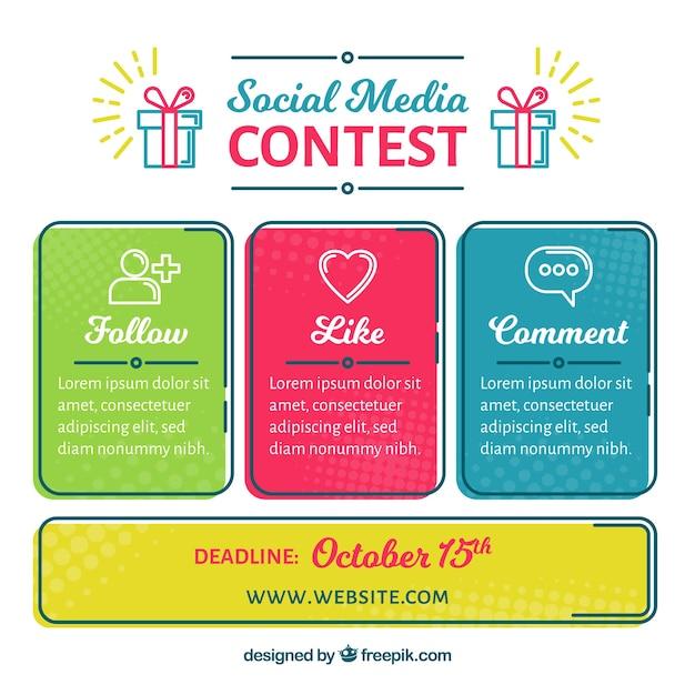 Concetto di concorso di media sociali Vettore gratuito