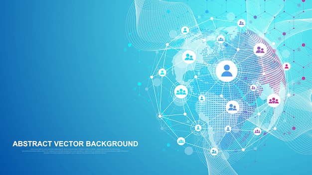 Concetto di connessione di rete globale. visualizzazione dei big data. comunicazione sui social network nelle reti informatiche globali. tecnologia internet. attività commerciale. scienza. Vettore Premium