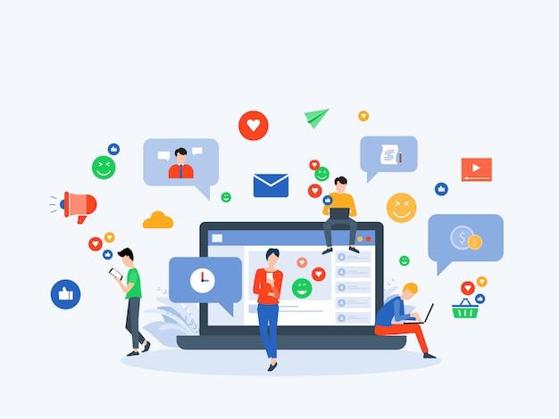 Concetto di connessione online di social media e marketing digitale Vettore Premium