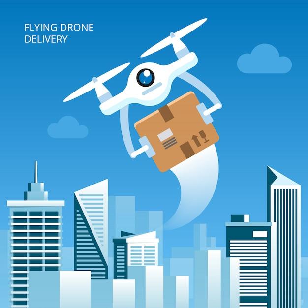 Concetto di consegna del drone Vettore Premium
