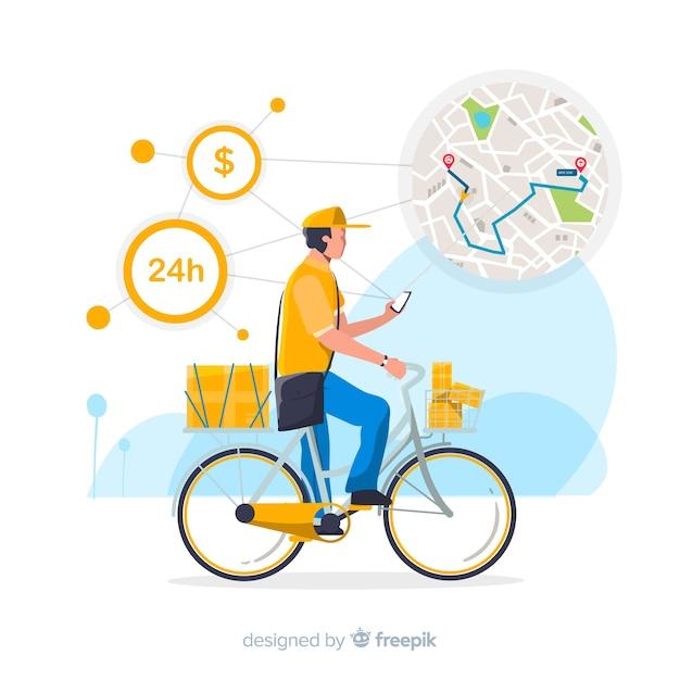 Concetto di consegna della bicicletta con pacchetti Vettore gratuito