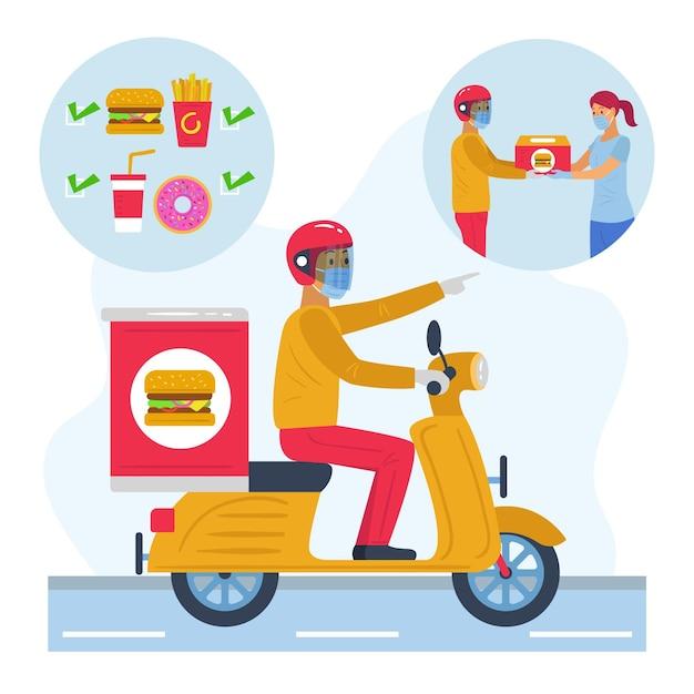 Concetto di consegna di alimenti sicuri Vettore gratuito