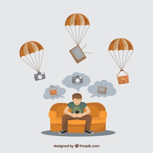 Concetto di consegna piana con paracadute Vettore gratuito
