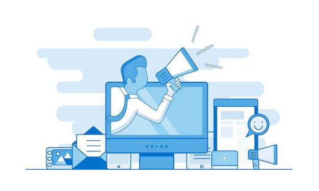 Concetto di contorno marketing digitale Vettore Premium