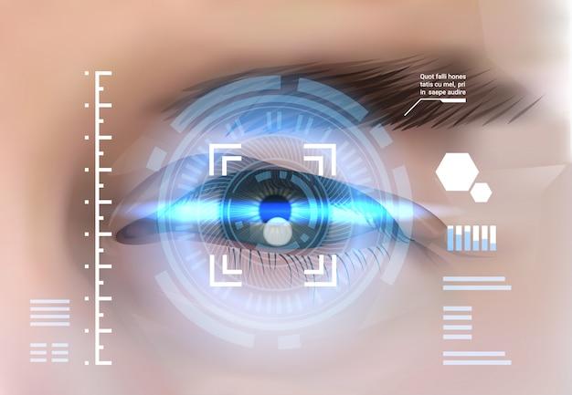 Concetto di controllo di accesso di tecnologia di identificazione biometrica del sistema di riconoscimento della retina dell'occhio Vettore Premium
