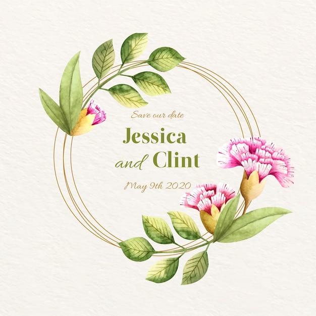 Concetto di cornice floreale di nozze Vettore gratuito