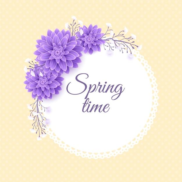 Concetto di cornice floreale primavera realistica Vettore gratuito