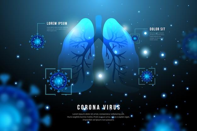 Concetto di coronavirus con polmoni e infezione Vettore gratuito