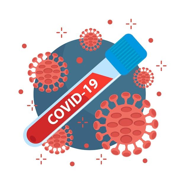 Concetto di coronavirus covid-19. virus e batteri Vettore Premium